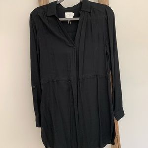 Long Black Blouse With Drawstring